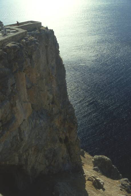 a cliff at the Lindos Acropolis